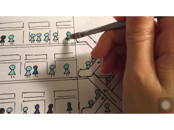 We use brush to paint on the place of incorrect color. Then use a black pen to redraw the outline because the paint we just add there covers some outline. Then we have all those small figures fixed.