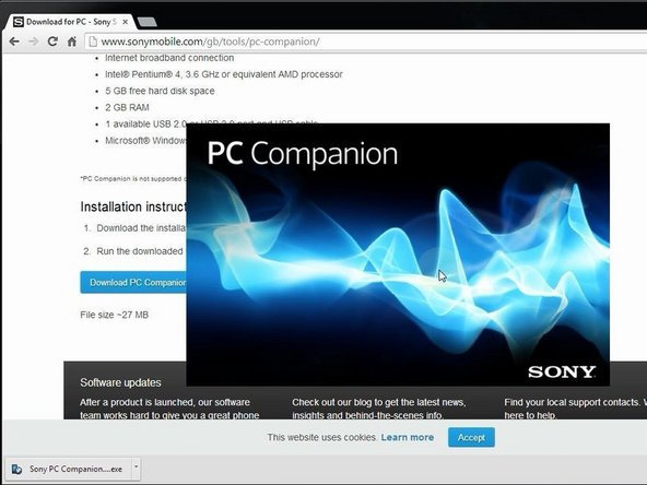Install Sony PC Companion in your PC.