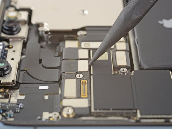 Use a spudger or a fingernail to disconnect the Face ID sensor cable from its socket on the logic board.