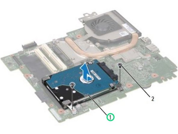 Slide the hard-drive assembly to disconnect it from the system-board connector.