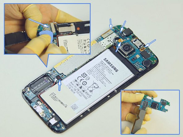 Pry up the LCD assembly connector, front facing camera connector, battery connector, ear speaker connector and home button flex ribbon connector.