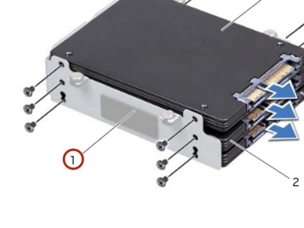 If applicable, slide the secondary and tertiary hard drive(s) into the hard-drive bracket.