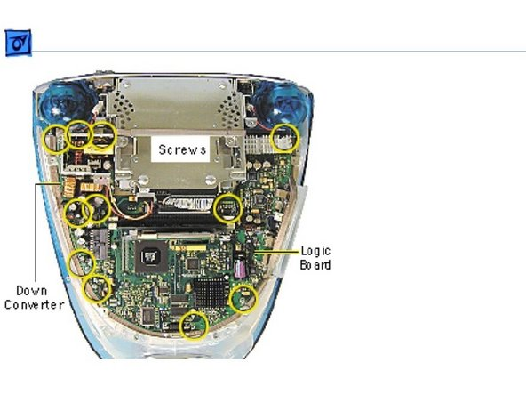 Remove the six screws on the logic board and five screws on the downconverter board.