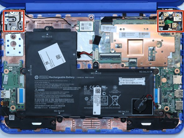 Remove five 4 millimeter hinge-screws from the hinges of the laptop using a #00 Phillips head screwdriver.