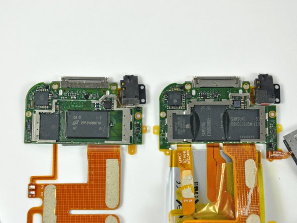 An 8 GB 2nd gen touch logic board (left) and our new 32 GB 3rd gen touch logic board.