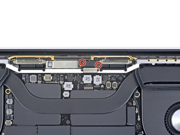 Using a T3 Torx driver, remove the two 1.6 mm screws securing the bracket for the display board cable connector.