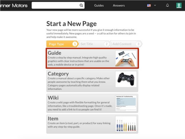 Select Guide from the Page Options list.