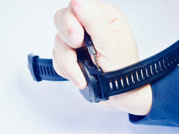 Once the watch is secure, insert the screwdriver into the screw, and hold firmly.
