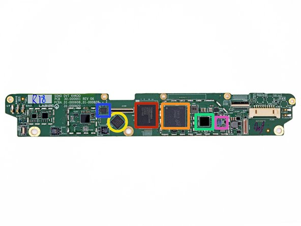 The front side of the Kindle Fire HD's motherboard is occupied by the following ICs: