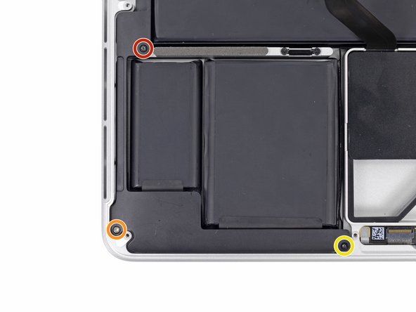 Use a T5 Torx driver to remove the following screws securing the right speaker to the upper case: