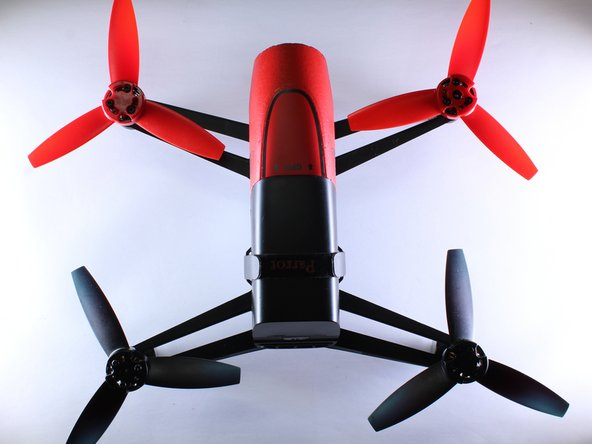 When putting the propellers back on, the red propellers go up front and the black ones go on the back.