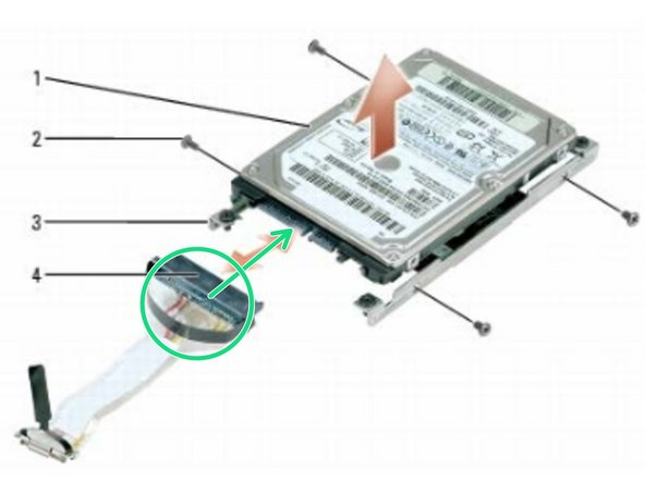 Connect the data cable to the new hard drive.