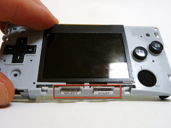When you remove the motherboard from the  front case, the start and select buttons may fall out.