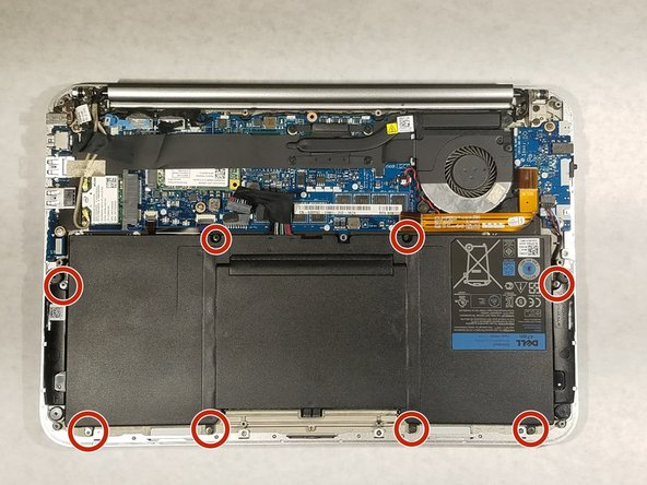 Use a Phillips #00 screwdriver to remove the 8 screws that secure the battery.