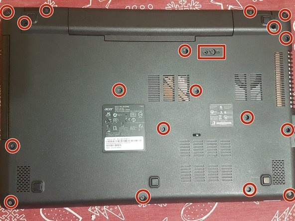 Remove the 18 screws holding the laptop together and remove the battery. Also push away and remove the DVD tray.