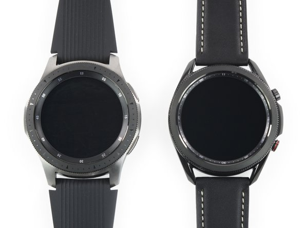 """But let's not compare apples to oranges galaxies. Here's an original Galaxy Watch (left) for a game of """"spot the differences."""""""