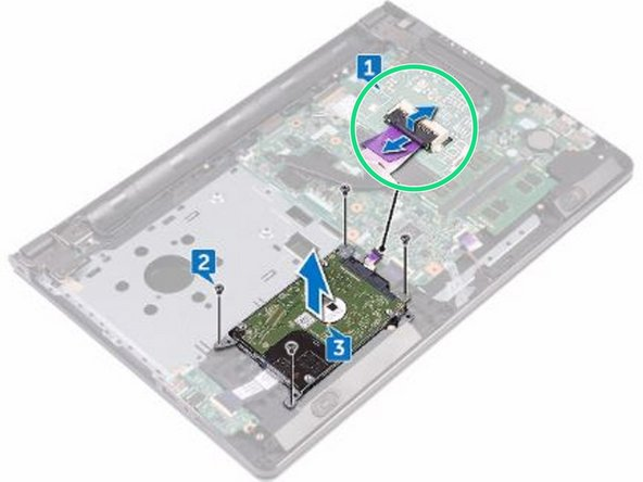 Slide the hard-drive cable into its connector on the system board and close the latch to secure the cable.