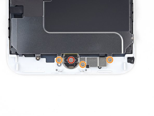 Remove the four Y000 screws securing the bracket over the home/Touch ID sensor:
