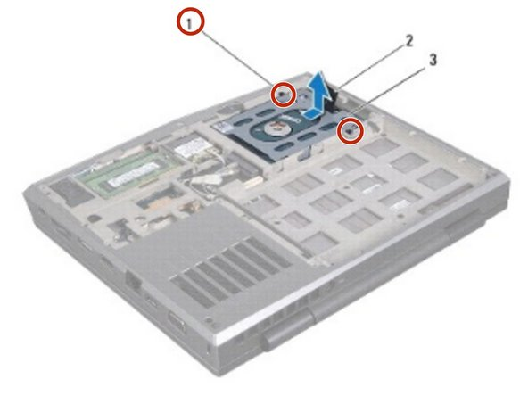 Loosen the two captive screws that secure the hard-drive assembly to the computer base.