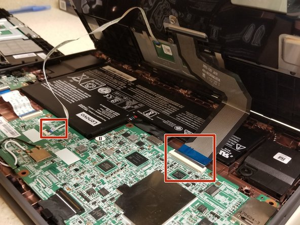 On the main board, lift up on the black tabs of the connectors that are connected to the ribbons.