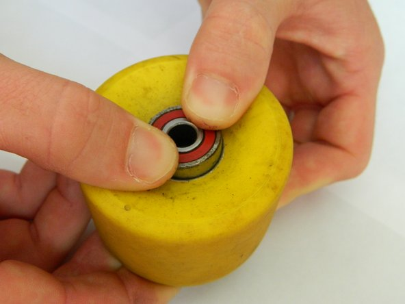 Repeat the method from Step 3 to insert a bearing into the backside of the wheel.