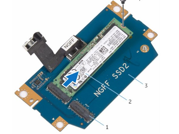 Slide the NEW solid-state drive into the slot on the solid-state drive assembly.