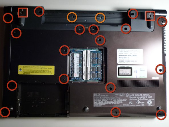 - Remove all screws from the bottom cover. There are three types of screws. Marked here with Red Circles, Red Squares and Orange Circles.