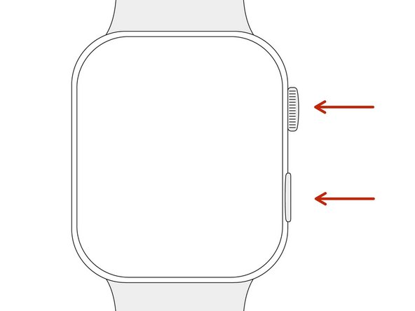 Appuyez sur le bouton de marche et la couronne digitale pendant au moins 10 secondes.