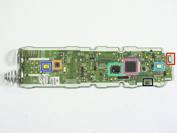 Turning our attention to the backside of the PCB,  we can review the components that give the remote its functionality.  There are a number of discrete parts, transistors, and power supply ICs. Plus the components that were cross referenced listed below.  Some parts could not be cross referenced.  Leave comment if you know a part.