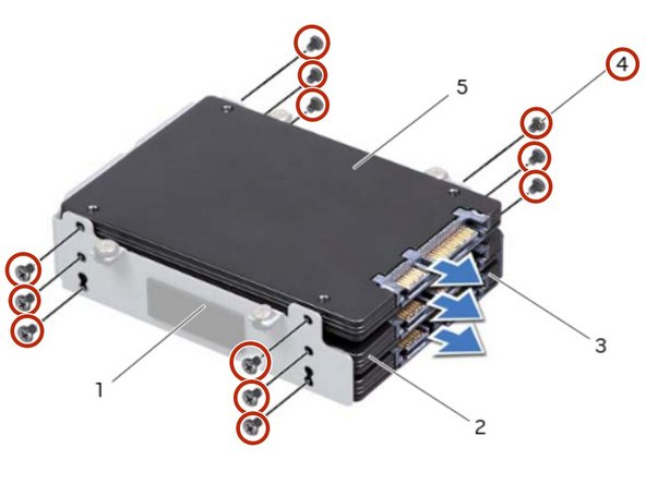 Remove the screws that secure the hard drive(s) and slide the hard drive(s) out of  the hard-drive bracket.