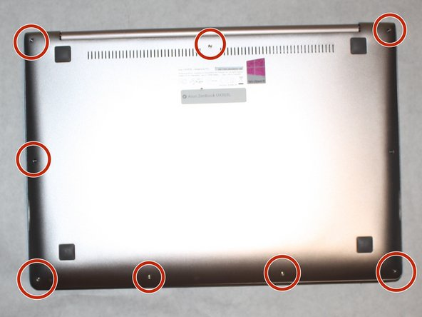 Remove all nine screws from the bottom of the device using a T5 screwdriver.