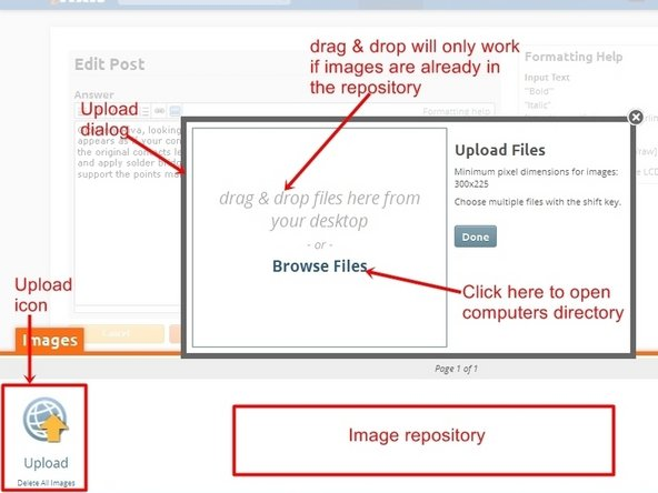 "To open the import image dialog, click the ""Upload Icon"", this will open up a upload dialog window. From here images can be either placed into the question, by ""drag&drop"", only if they are already in the image repository. Most of the time it will require using the ""Browse Files"" icon. ."