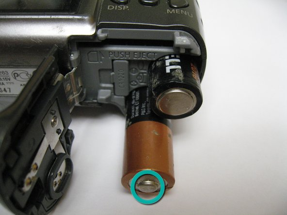 When replacing the AA batteries, verify they are oriented correctly by following the (+) and (-) signs on the camera.