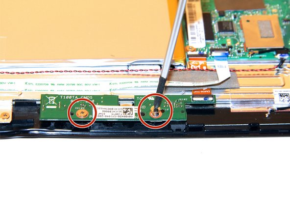 Remove the two screws on the camera board using a Phillips #1 Screwdriver.