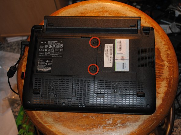 Flip computer over, being sure the device is unplugged, powered off, and battery removed.