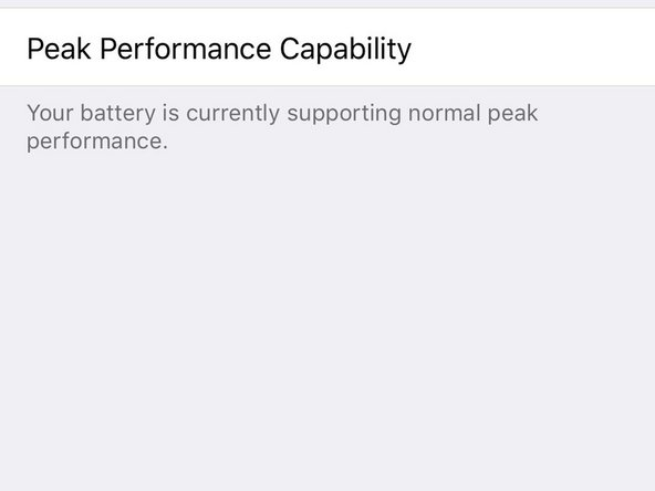 Peak Performance Capability tells you whether your battery can still supply sufficient power for the iPhone's most intense processing tasks. Normal peak performance is what you're aiming for.