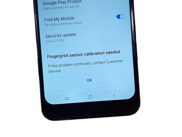 Samsung Galaxy A50 - Fingerprint sensor calibration needed