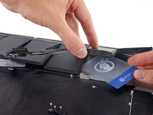 Repeat the above procedure to separate the last remaining battery cell from the MacBook Pro's upper case.