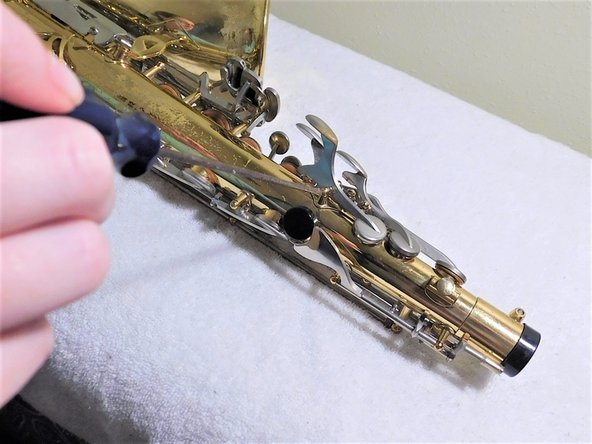 Loosen screw slowly and carefully, so that screw isn't lost.