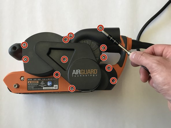 Orient the belt sander so that the AirGuard Technology logo is facing you.