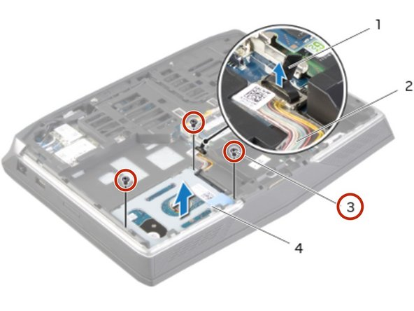 Remove the screws that secure the primary hard-drive assembly to the computer  base.