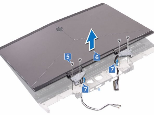 Replace the four screws (M2.5x6L) that secure the display assembly to the  palm-rest assembly.