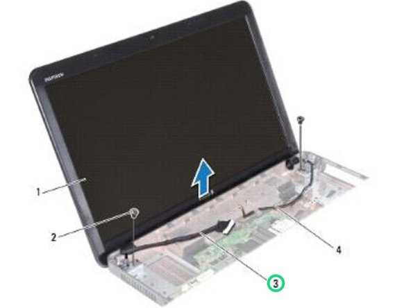 Route the display cable into the routing guide and connect the display cable to the connector on the system board.
