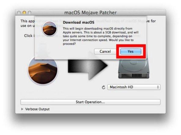 Confirme que desea descargar el instalador MacOS Mojave de 6.5 GB completo, luego elija un destino para guardarlo (si planea hacer un instalador USB, es necesario ponerlo en la carpeta / Aplicaciones /)