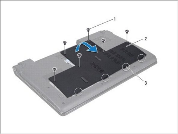 Remove the six screws that secure the base cover to the computer base.