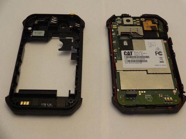 With all screws removed, the back and side pieces should come off the front of the phone, exposing the motherboard and various components as shown.