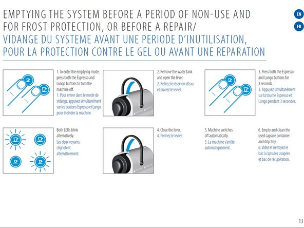 Remove all water from the system. (From the Nespresso manual.)
