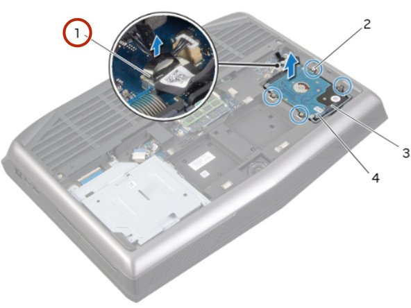 Connect the hard-drive cable to its connector on the system board.