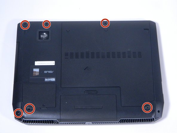 Remove the six screws on the back of the laptop using a Phillips screwdriver.