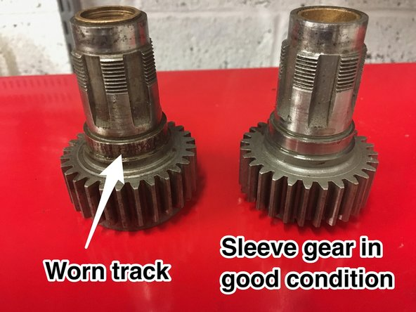 """The output 4th gear (""""sleeve gear"""") can suffer from wear. Check the exposed bearing track carefully and the inner bushes. If the inner bushes are worn, they can be replaced, but if the bearing track is worn or pitted, then the gear is scrap."""